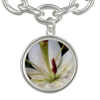 Soft White Lily Up Close Charm Bracelet