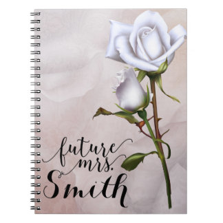 Soft White Roses Elegant Shabby Chic Future Mrs. Spiral Notebook