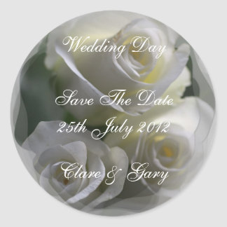 Soft White Roses Wedding Day Date stickers