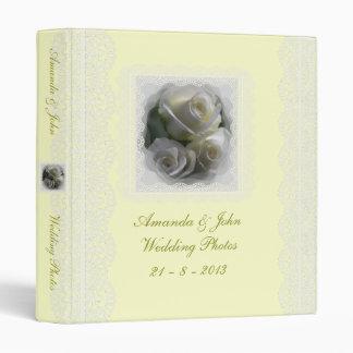 Soft White Roses Wedding Photo Album Binder