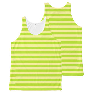 Soft Yellow and Lime Green Stripes All-Over-Print Tank Top