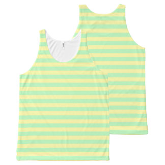 Soft Yellow and Soft Green Stripes All-Over-Print Tank Top