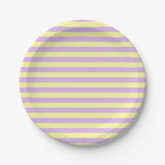 Soft Yellow and Soft Purple Stripes Paper Plate