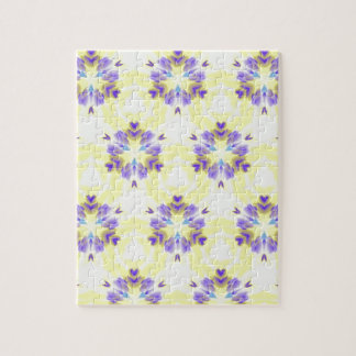 Soft Yellow Lavender Fractal Seamless Pattern Puzzle