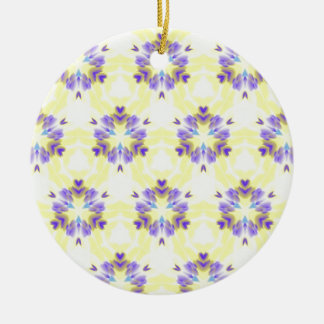 Soft Yellow Lavender Fractal Seamless Pattern Round Ceramic Ornament
