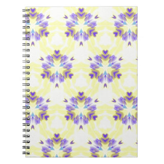 Soft Yellow Lavender Fractal Seamless Pattern Spiral Notebook