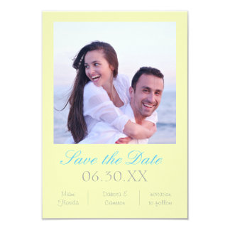 """Soft Yellow Photo Vertical - 3x5 Save the Date 3.5"""" X 5"""" Invitation Card"""