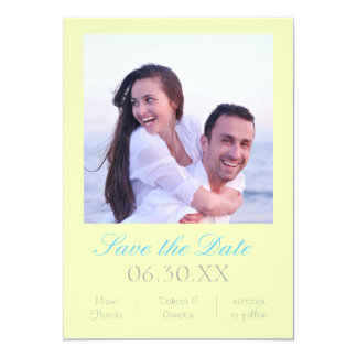 """Soft Yellow Photo Vertical - Save the Date 5"""" X 7"""" Invitation Card"""