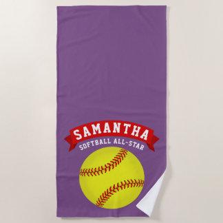 Softball All-Star Beach Towel