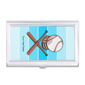 Softball and Cross Bats With Blue Stripes Business Card Holder