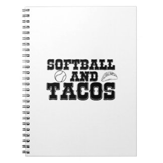 Softball and Tacos Funny Distressed Funny Notebook