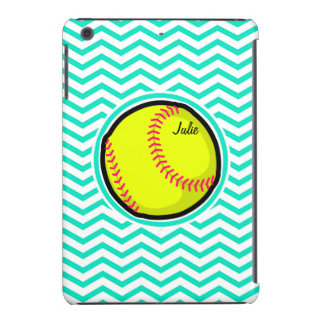 Softball Aqua Green Chevron iPad Mini Cover