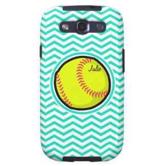 Softball Aqua Green Chevron Galaxy S3 Cover
