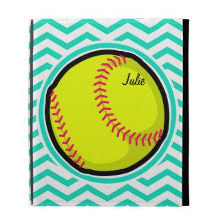 Softball Aqua Green Chevron iPad Folio Case