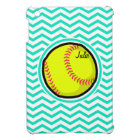 Softball; Aqua Green Chevron iPad Mini Cover