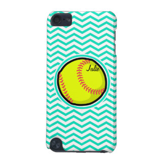 Softball; Aqua Green Chevron iPod Touch (5th Generation) Cases