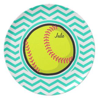 Softball Aqua Green Chevron Plates