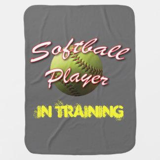 Softball Baby Player In Training Baby Blanket