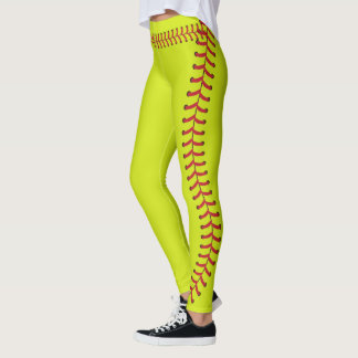 Softball ball Seam Stitches Pattern Leggings