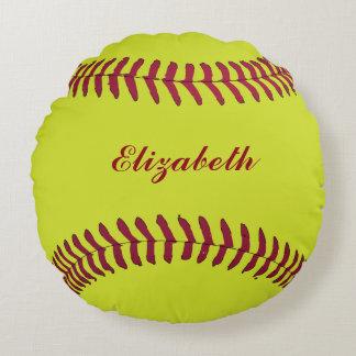 Softball ball Sport Player Name Customize Round Pillow
