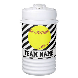 Softball Black & White Striped Player & Team Name Drinks Cooler