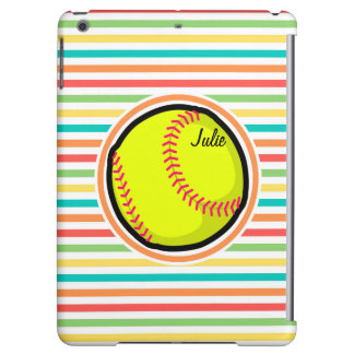 Softball; Bright Rainbow Stripes Case For iPad Air
