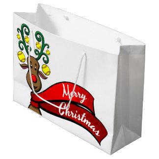 Softball Christmas Reindeer Large Gift Bag