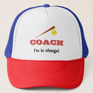 Softball coach custom name fun sports trucker hat
