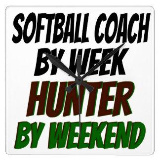 Softball Coach Hunter Square Wall Clock