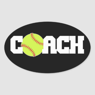 Softball Coach Oval Sticker