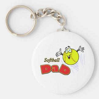 Softball Dad Basic Round Button Keychain