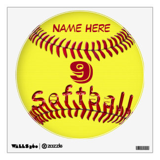 Softball Decals for Walls YOUR Jersey NUMBER  NAME