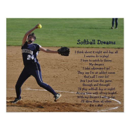 Senior Night Quotes For Softball: Softball Dreams Poster