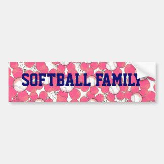 Softball Family Pink Flower Ball Bumper Sticker