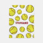 Softball Fan Custom Name White Fleece Blanket