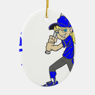 SOFTBALL GIRL BAT CERAMIC ORNAMENT