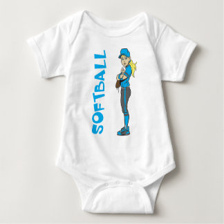 SOFTBALL GIRL PITCHER TEXT BABY BODYSUIT