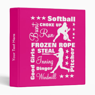 Softball Girls Sports Terminoligy Words Typography 3 Ring Binder