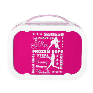 Softball Girls Sports Terminoligy Words Typography Lunch Box