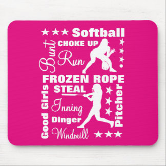 Softball Girls Sports Terminoligy Words Typography Mouse Pad
