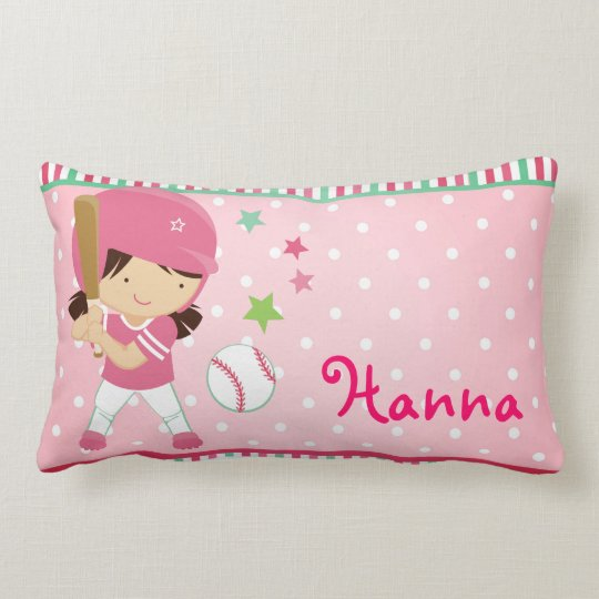 Softball Girly Personalized Lumbar Pillow