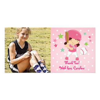 Softball Girly Thank You Personalized Personalized Photo Card