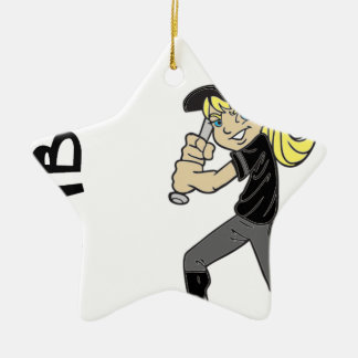SOFTBALL GORL TEXT CERAMIC ORNAMENT