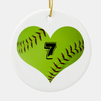 Softball heart ornament