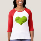 Softball Heart shaped raglan shirt