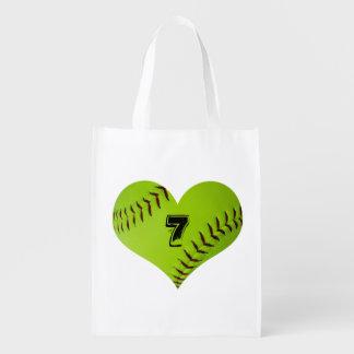 Softball heart tote bag. reusable grocery bag