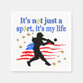 SOFTBALL IS MY LIFE USA PATRIOTIC DESIGN DISPOSABLE NAPKINS