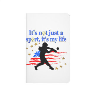 SOFTBALL IS MY LIFE USA PATRIOTIC DESIGN JOURNAL