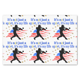 SOFTBALL IS MY LIFE USA PATRIOTIC DESIGN TISSUE PAPER