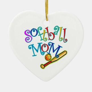 Softball Mom Double-Sided Heart Ceramic Christmas Ornament